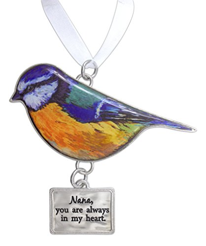 Ganz Beautiful Blessings Decorative Colorful Bird Ornament for Family with White Ribbon for Hanging (Nana)