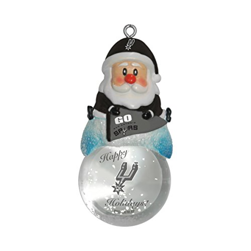 NBA San Antonio Spurs Snow Globe Ornament, Silver, 1.5″