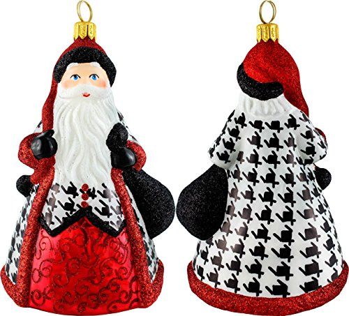 Glitterazzi Hounds Tooth Santa Ornament by Joy to the World