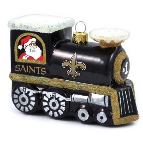NFL New Orleans Saints Blown Glass Train Ornament