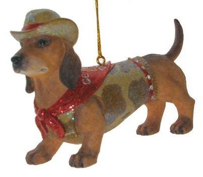December Diamonds Doggie Dachshund Ornament is wearing a Clear Rhinestone Studded Camo Vest & Cowboy Hat