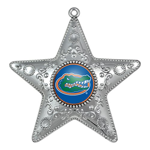 NCAA Florida Gators Silver Star Ornament, Small, Silver