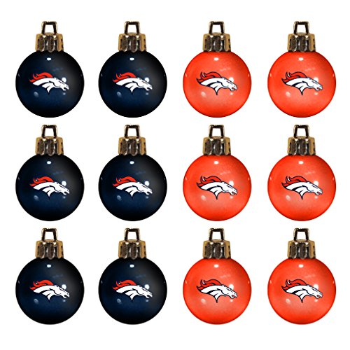 NFL Denver Broncos 12-Pack Mini Ball Ornaments made of Durable Plastic, Miniature, Orange