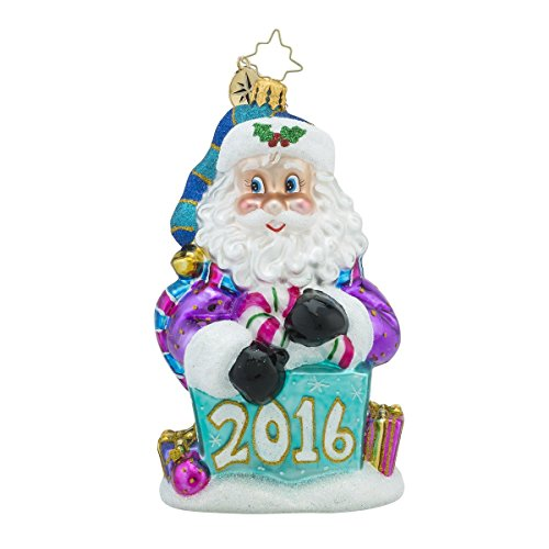 Christopher Radko 2016 Nick in the Box Santa Glass Christmas Ornament – 5.25″h.
