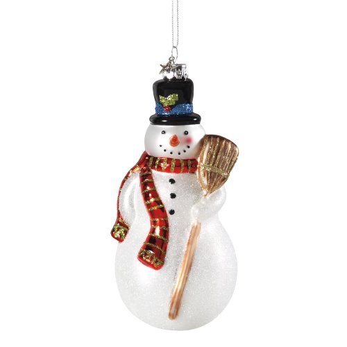 Midwest Tradional Snowman Glass Ornament