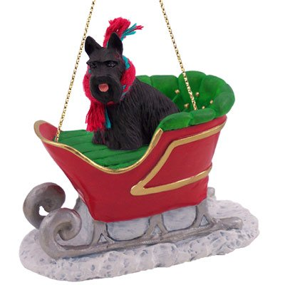 Scottish Terrier Sleigh Ride Ornament