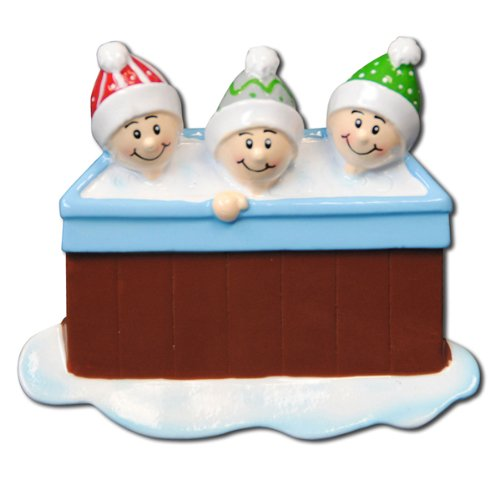 Personalizable Christmas Ornament Hot Tub Family of 3