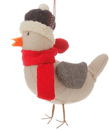 4.75″ Alpine Chic Gray Bird with Red Scarf and Herringbone Wings Christmas Ornament