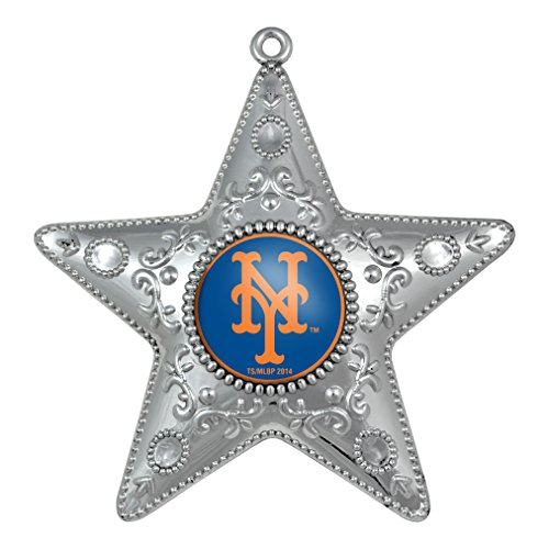 MLB New York Mets Silver Star Ornament, Small, Silver