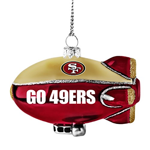 NFL San Francisco 49ers Glitter Blimp Ornament, Silver, 3″ x 2.25″