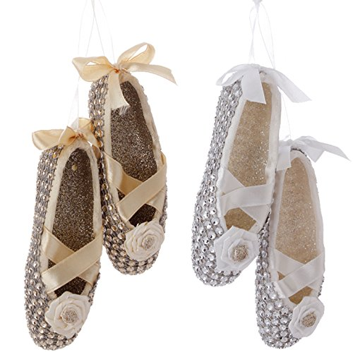 RAZ Imports – Enchanted Whimsy – 4.5″ Ballet Slipper Christmas Tree Ornaments – Set of 2