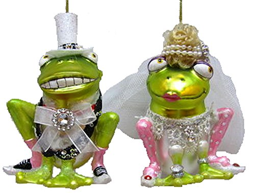 December Diamonds Blown Glass Ornament – Bride and Groom Frog Set of 2