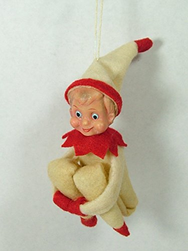 1940s Vintage Style Cream Elf On A Shelf Doll Good Boy & Girl Christmas Ornament