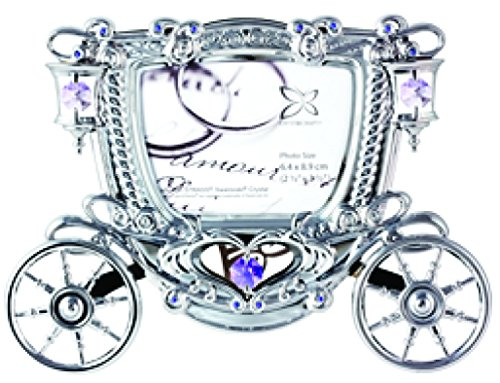 Chrome Plated Carriage Photo Frame with Swarovski Element Crystal – Also Suitable for Wedding or for All Occasions