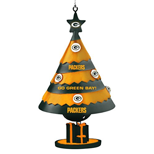 NFL Green Bay Packers Tree Bell Ornament, Green, 5″