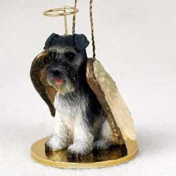 Schnauzer Angel Dog Ornament – Uncropped – Gray
