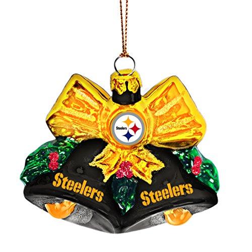 NFL Pittsburgh Steelers Glitter Bells Ornament, Green, 3″ x 3″