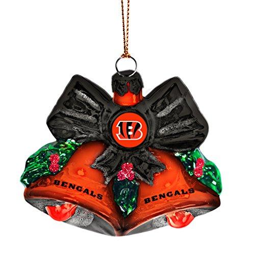 NFL Cincinnati Bengals Glitter Bells Ornament, Green, 3″ x 3″