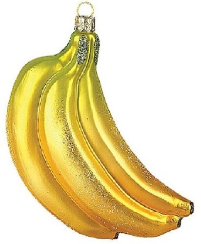 Banana Bunch Polish Glass Christmas Ornament Made in Poland Tree Decoration