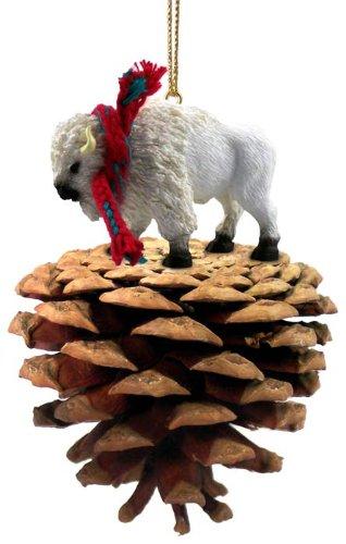 Conversation Concepts Buffalo White Pinecone Pet Ornament