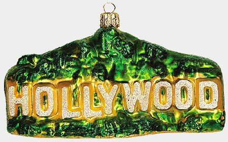 Hollywood Sign LA California Polish Glass Christmas Ornament Los Angeles Poland