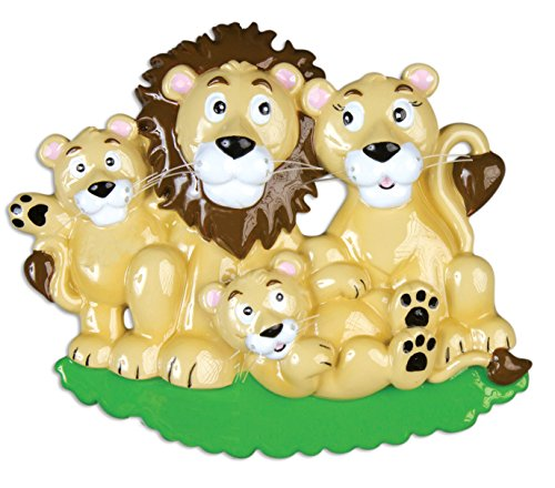 Personalized Christmas Ornament FAMILY SERIES – LION FAMILY PRIDE OF 4