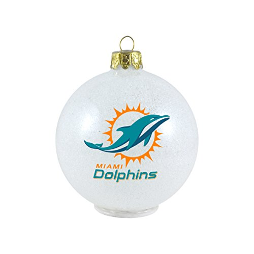 NFL Miami Dolphins LED Color Changing Ball Ornament, 2.625″, White