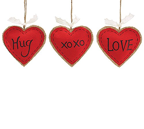 Set of 3 Red Burlap Heart Shaped Ornaments