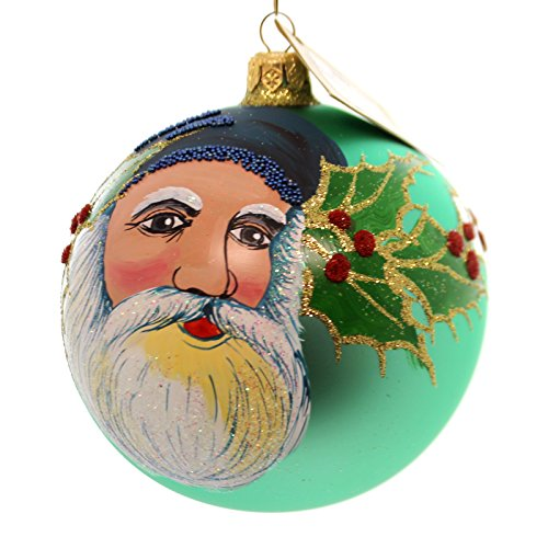 Christina's World VINTAGE BOOKMARK SANTA Glass Ornament Ball Holly Gif465