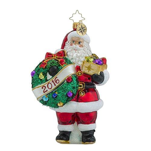 Christopher Radko 2016 Holly Jolly Year Santa Glass Christmas Ornament – 6″h.