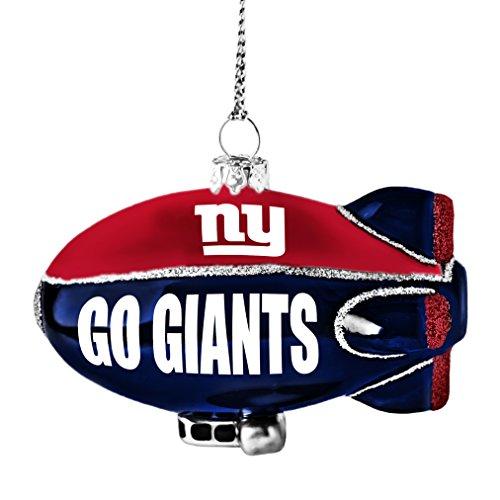 NFL New York Giants Glitter Blimp Ornament, Silver, 3″ x 2.25″