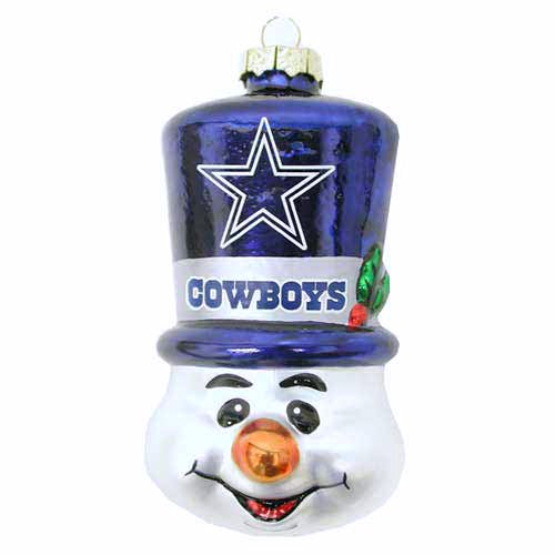 NFL Dallas Cowboys Blown Glass Top Hat Snowman Ornament