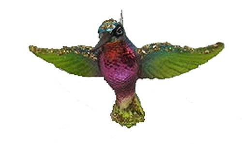 December Diamonds Blown Glass Ornament – Multi Color Hummingbird