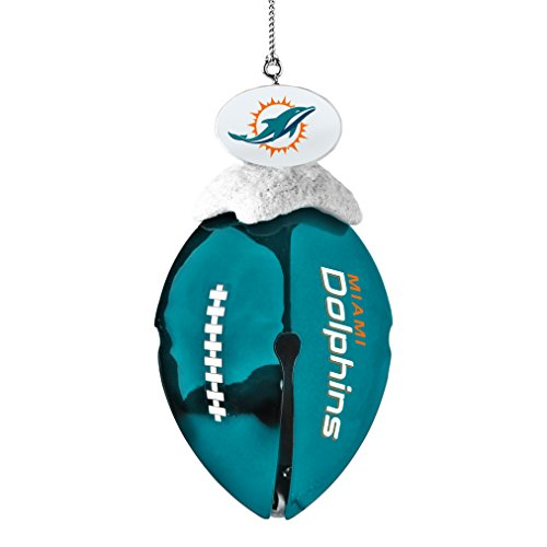 NFL Miami Dolphins Metal Football Bell Ornament, 2″, White