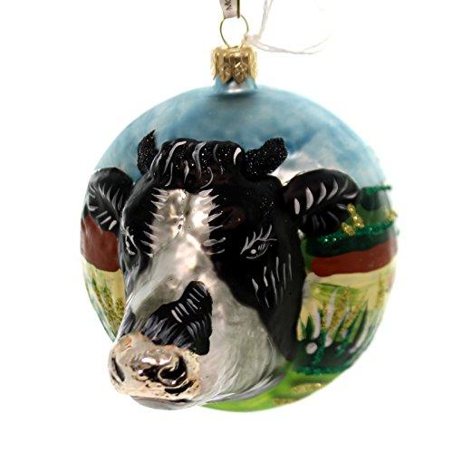 Christina's World BOW HOLSTEIN COW Glass Ornament Farm Zoo845b