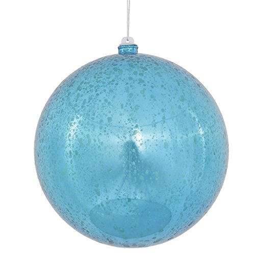 Vickerman Turquoise Shiny Mercury Ball Ornament, 8-Inch, Teal