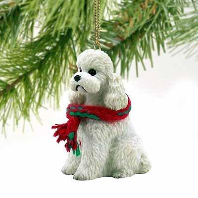 1 X Poodle Sportcut Miniature Dog Ornament – White