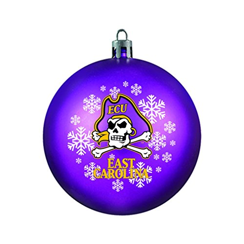 NCAA East Carolina Pirates Shatterproof Ball Ornament, 3.125″, Purple