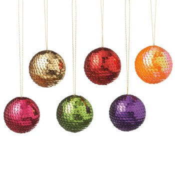 Club Pack of 12 Multi-Colored Shatterproof Sequin Ball Christmas Ornament 2″