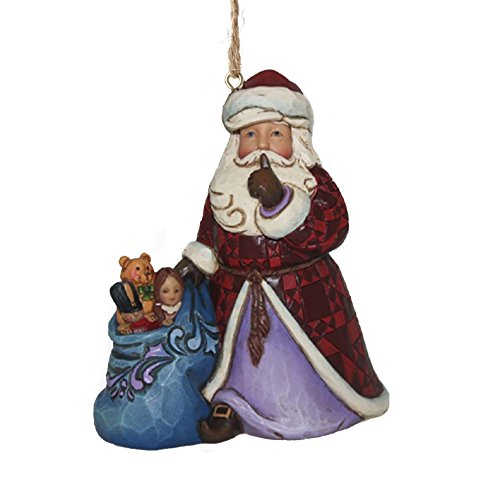 Jim Shore for Enesco Heartwood Creek Santa with Toy Bag Ornament, 3.6″
