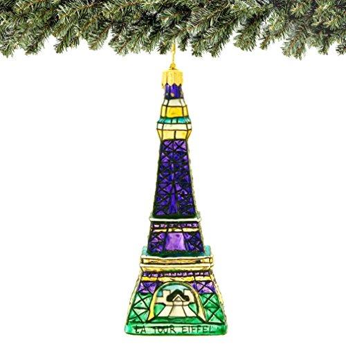 Eiffel Tower Christmas Ornament at Twillight, 6 Inch