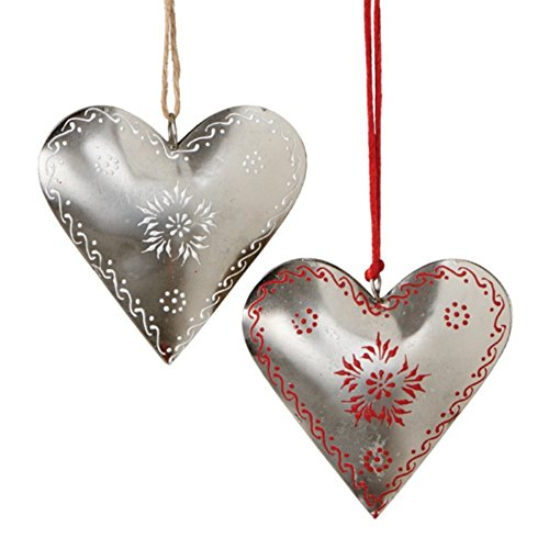Iron Silver Hearts with Red and White Design Valentine Ornaments LOVE