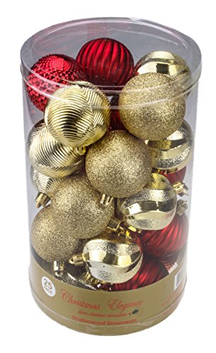 Christmas Red and Gold Decorative Shatterproof Orbs and Ornaments – Assorted 25 Pack Up to 60mm