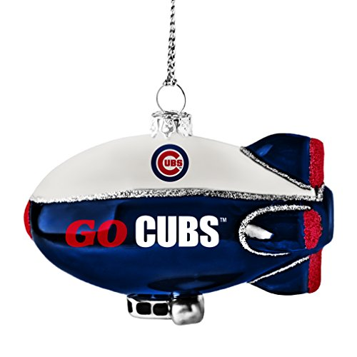MLB Chicago Cubs Glitter Blimp Ornament, Silver, 3″ x 2.25″