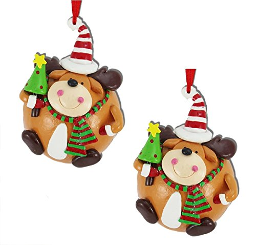 Holiday Lane Molded Clay Reindeer Round Christmas Ornaments (Set of 2)