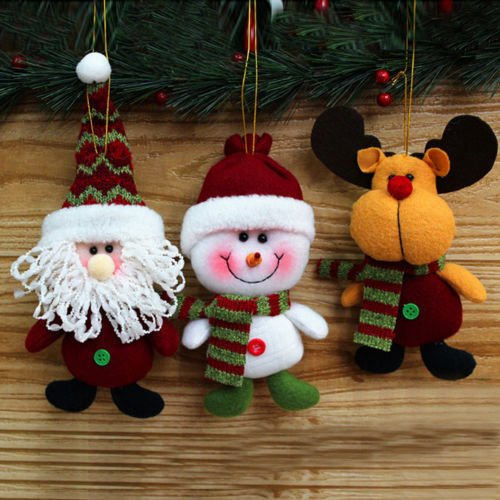 CYNDIE Hot Sale New Christmas Tree Fabric Santa Snowman Reindeer Ornaments Xmas Decorations Decros Best Price Gift 6pcs Red Santa