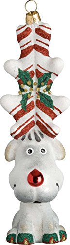 Glitterazzi Peppermint Twist Reindeer Ornament by Joy to the World