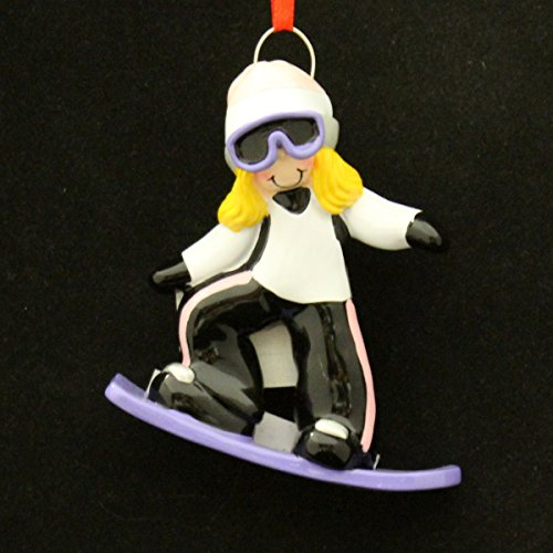 2533 Snowboard Girl Blonde Hand Personalized Christmas Ornament