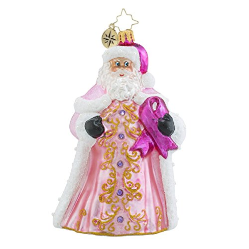 Christopher Radko Perfectly Pink Gent Santa Glass Christmas Ornament – 2016 Breast Cancer Awareness Ornament – 5.5″h.