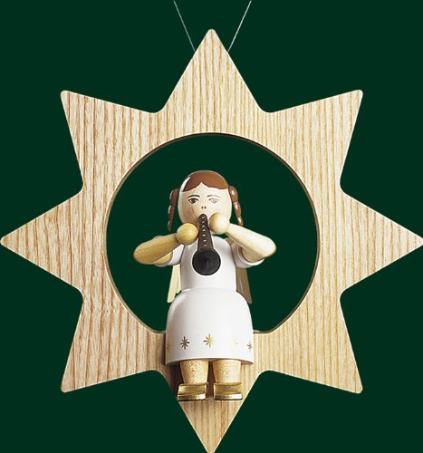 Hanging Christmas Tree Star Shaped Ornament Angel with Clarinet, 8.4 Inches